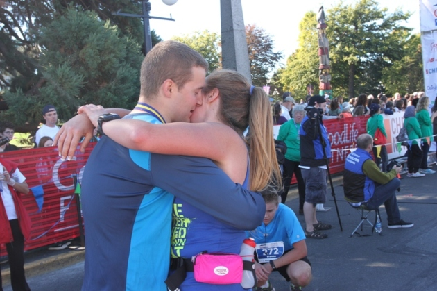 When Matt proposed at the finish of my 7th marathon in October 2012